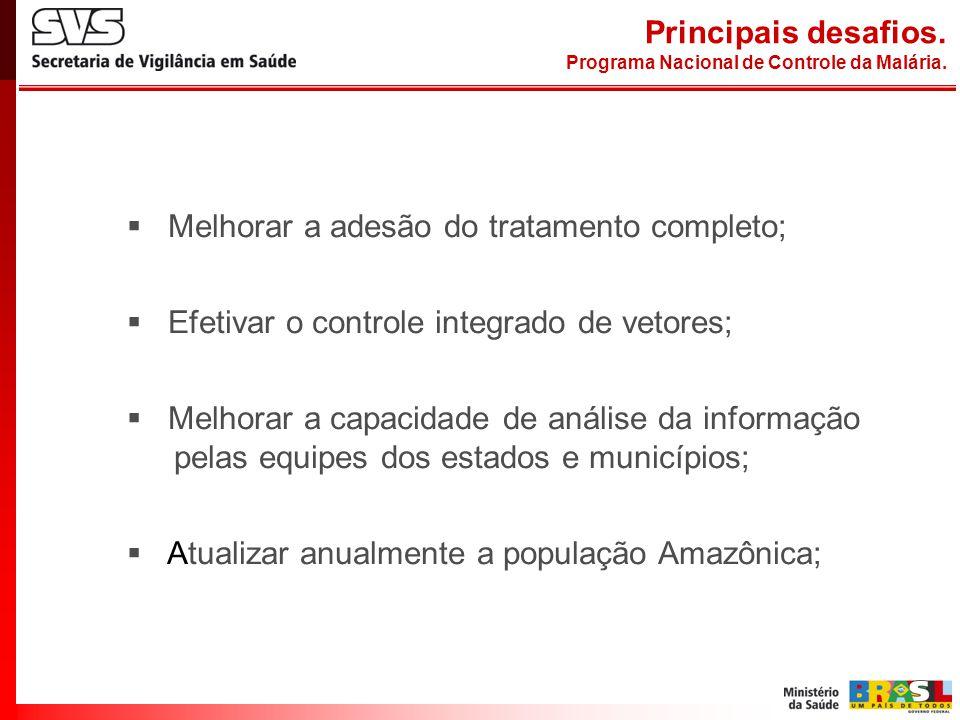 Melhorar a adesão do tratamento completo; Efetivar o controle integrado de vetores; Melhorar a capacidade de análise da informação pelas equipes dos e