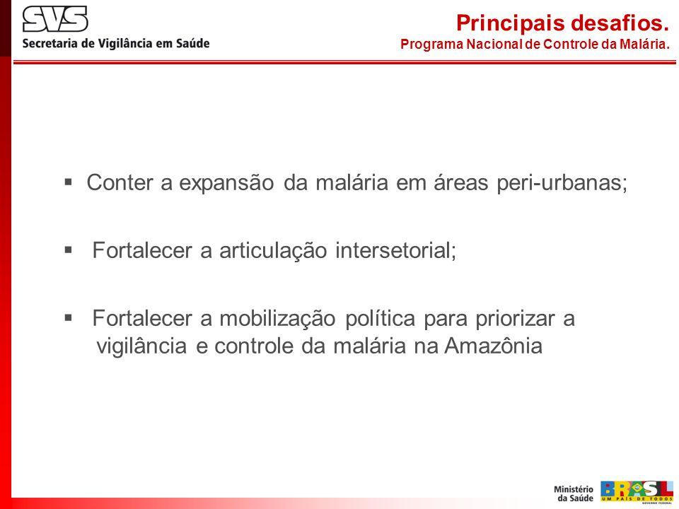 Conter a expansão da malária em áreas peri-urbanas; Fortalecer a articulação intersetorial; Fortalecer a mobilização política para priorizar a vigilân