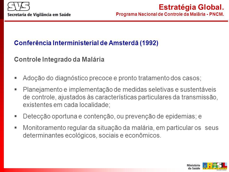 Conferência Interministerial de Amsterdã (1992) Controle Integrado da Malária Adoção do diagnóstico precoce e pronto tratamento dos casos; Planejament
