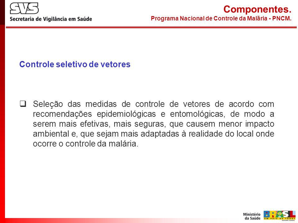 Controle seletivo de vetores Seleção das medidas de controle de vetores de acordo com recomendações epidemiológicas e entomológicas, de modo a serem m