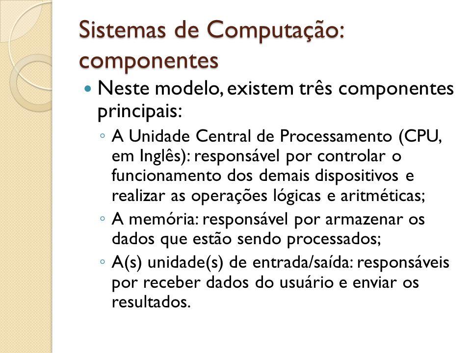 Sistemas de Computação: componentes Além do monitor existem diversos outros dispositivos de saída: Impressora; Alto-falantes; Data-show;