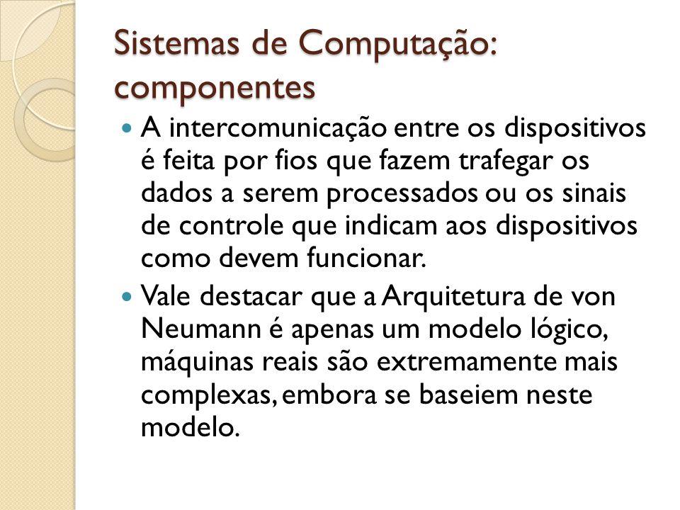 Sistemas de Computação: componentes Assíncrona: A quantidade de bits enviada de cada vez é previamente estabelecida; Um sinal de início é enviado imediatamente antes da transmissão do dado; Este sinal serve para preparar o receptor; O dado é enviado; Um sinal de finalização é enviado;