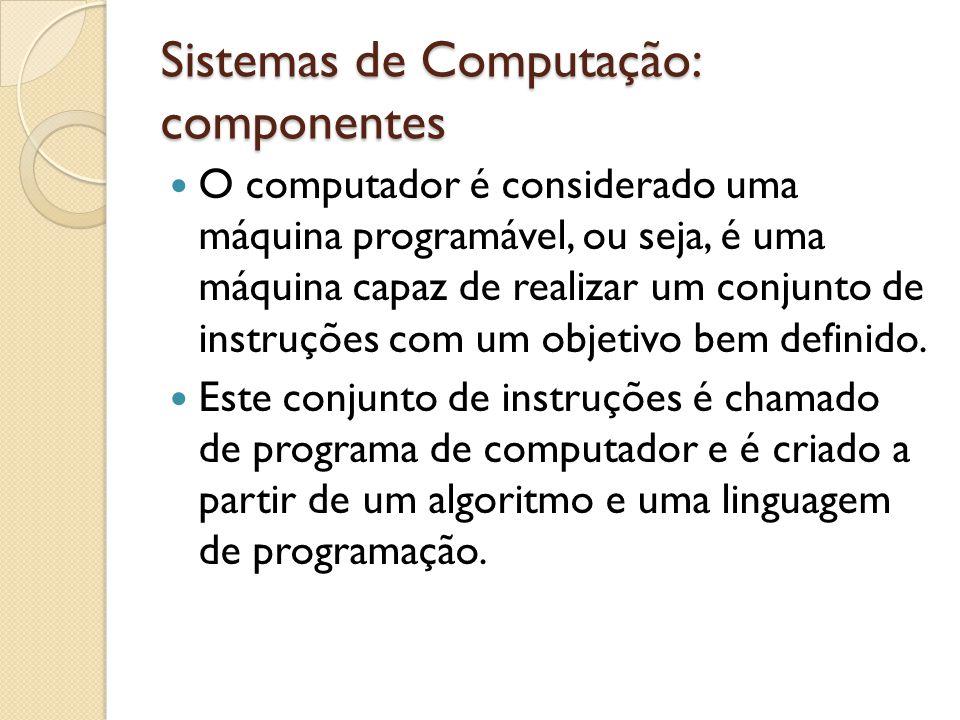 Sistemas de Computação: componentes O conjunto de todos os programas que um computador pode executar é chamado de software.