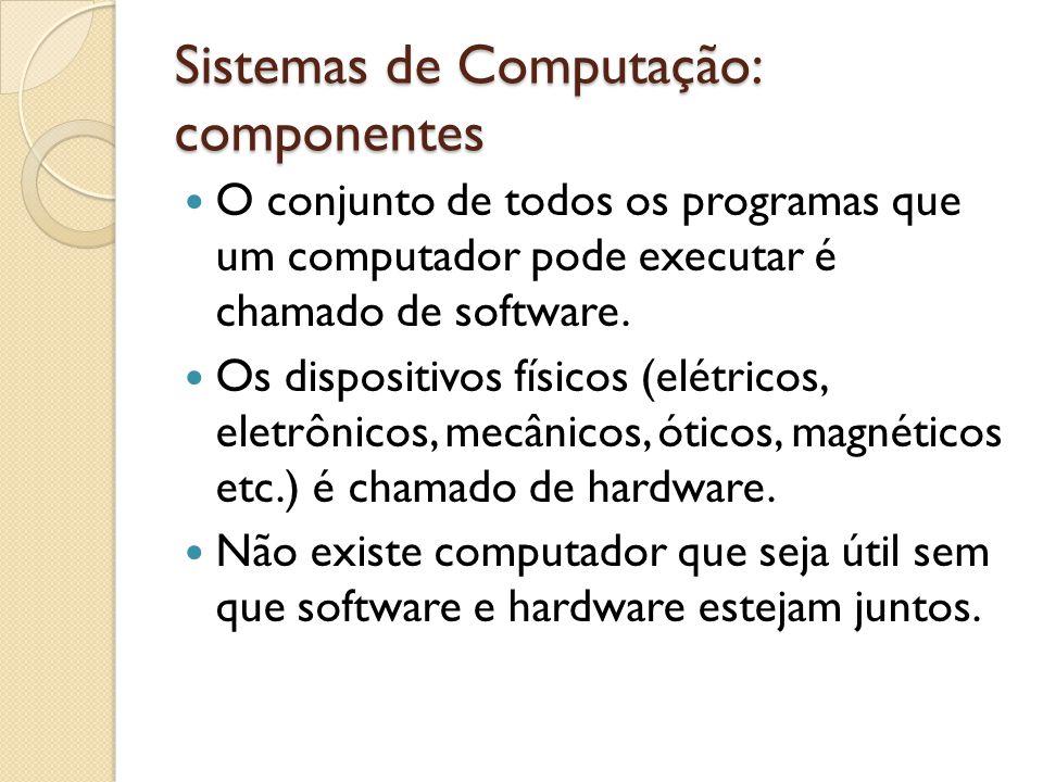Sistemas de Computação: componentes Na transmissão paralela, os bits são enviados por fios distintos todos ao mesmo tempo.