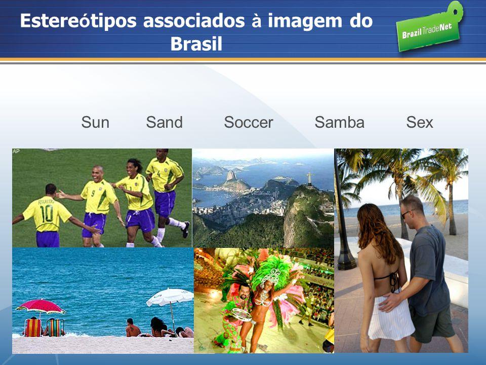 Estere ó tipos associados à imagem do Brasil Sun Sand Soccer Samba Sex