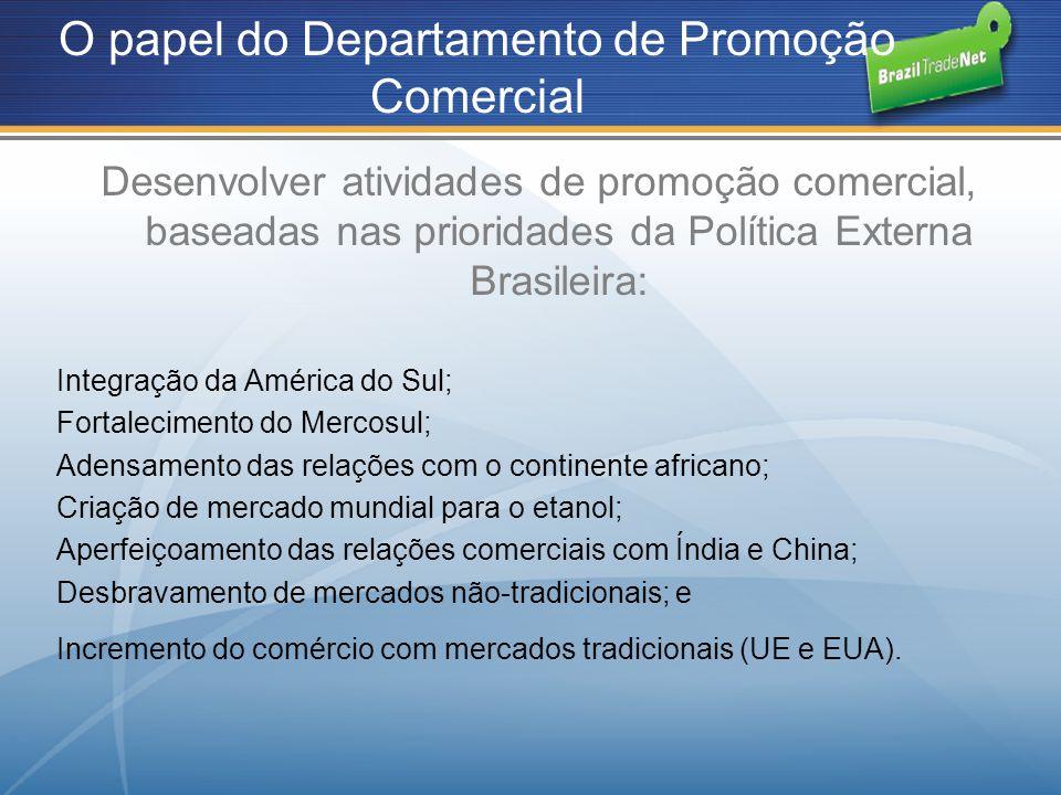 O papel do Departamento de Promoção Comercial Desenvolver atividades de promoção comercial, baseadas nas prioridades da Política Externa Brasileira: I