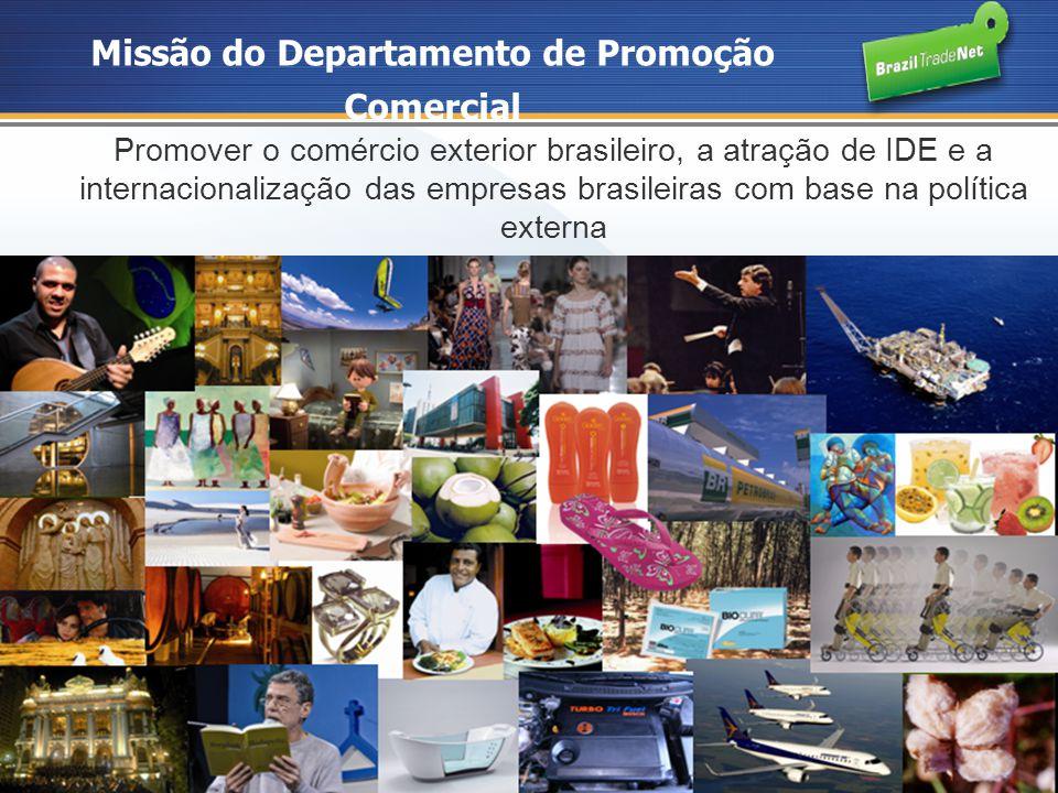 Missão do Departamento de Promoção Comercial Promover o comércio exterior brasileiro, a atração de IDE e a internacionalização das empresas brasileira