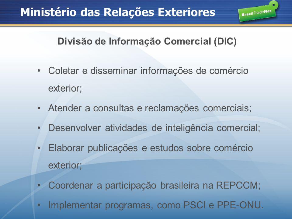 Ministério das Relações Exteriores Divisão de Informação Comercial (DIC) Coletar e disseminar informações de comércio exterior; Atender a consultas e