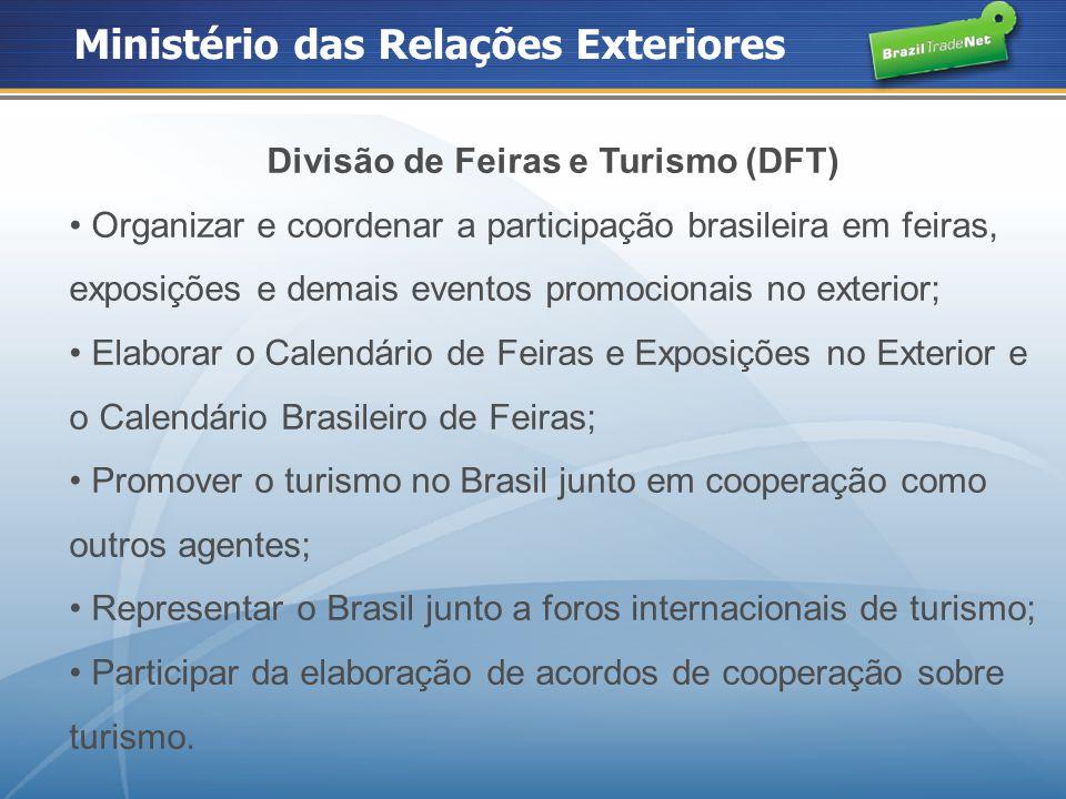 Ministério das Relações Exteriores Divisão de Feiras e Turismo (DFT) Organizar e coordenar a participação brasileira em feiras, exposições e demais ev