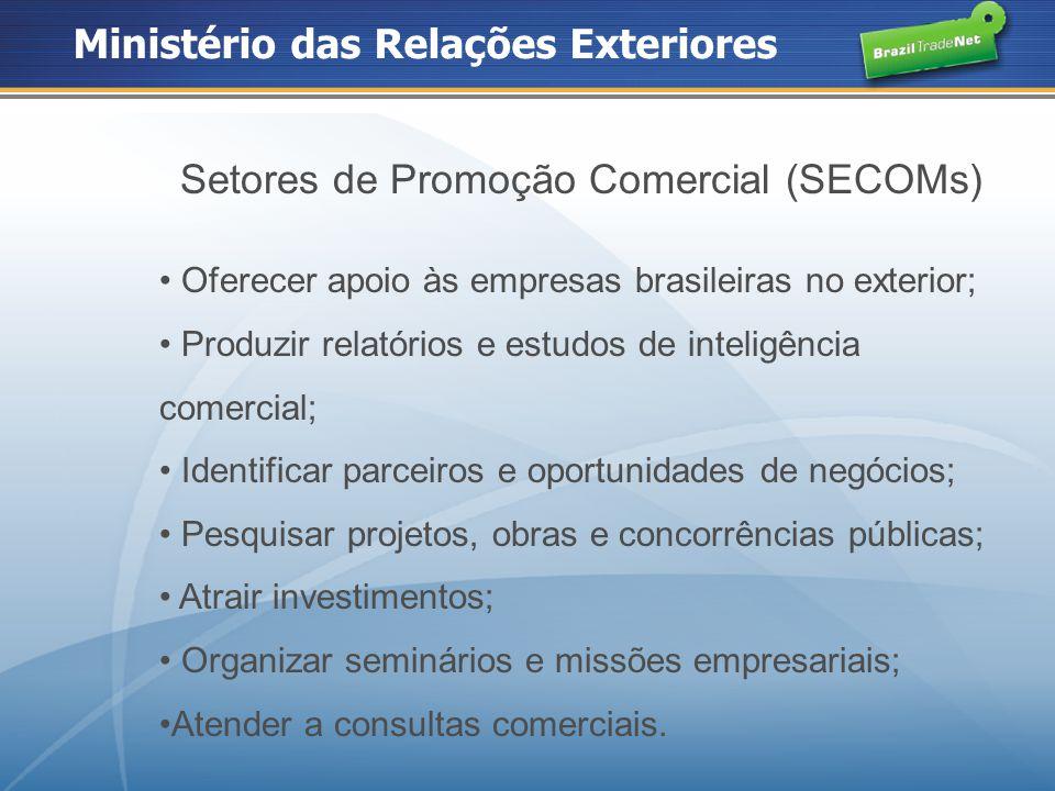 Setores de Promoção Comercial (SECOMs) Oferecer apoio às empresas brasileiras no exterior; Produzir relatórios e estudos de inteligência comercial; Id