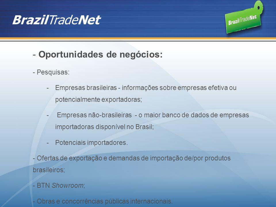 BrazilTradeNet - Oportunidades de negócios: - Pesquisas: -Empresas brasileiras - informações sobre empresas efetiva ou potencialmente exportadoras; -