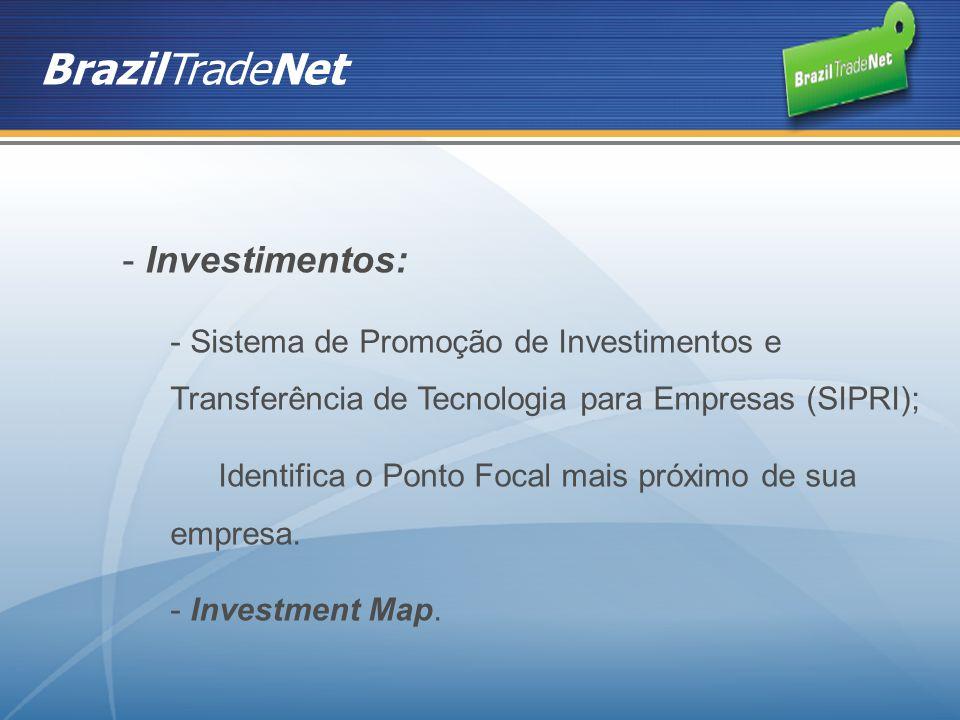 BrazilTradeNet - Investimentos: - Sistema de Promoção de Investimentos e Transferência de Tecnologia para Empresas (SIPRI); Identifica o Ponto Focal m