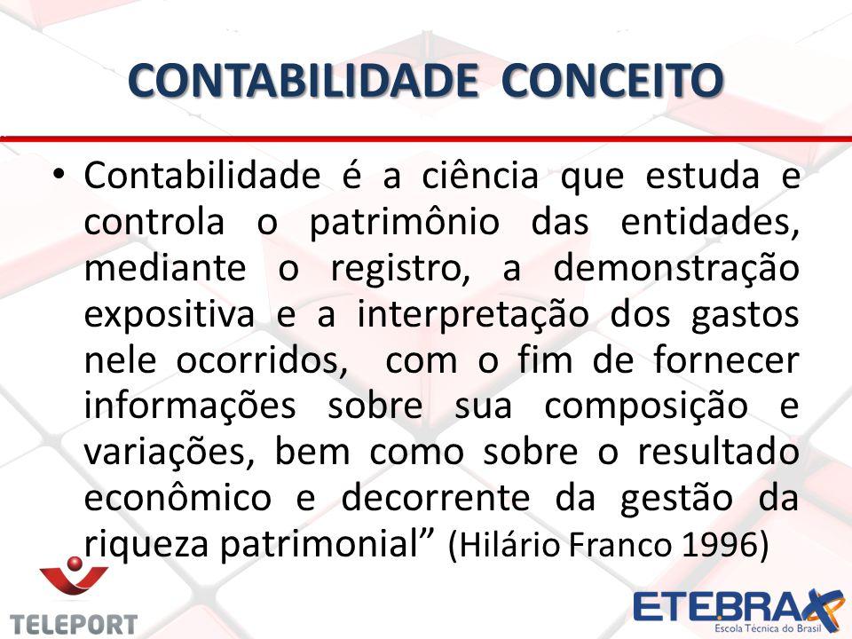 CONTABILIDADE CONCEITO Contabilidade é a ciência que estuda e controla o patrimônio das entidades, mediante o registro, a demonstração expositiva e a