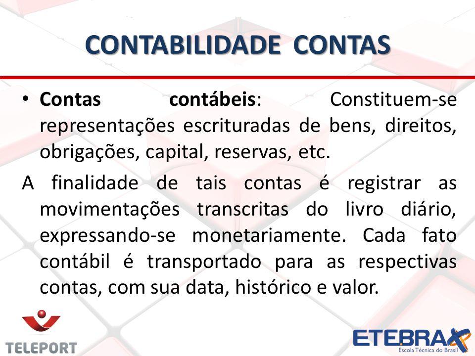 CONTABILIDADE CONTAS Contas contábeis: Constituem-se representações escrituradas de bens, direitos, obrigações, capital, reservas, etc. A finalidade d