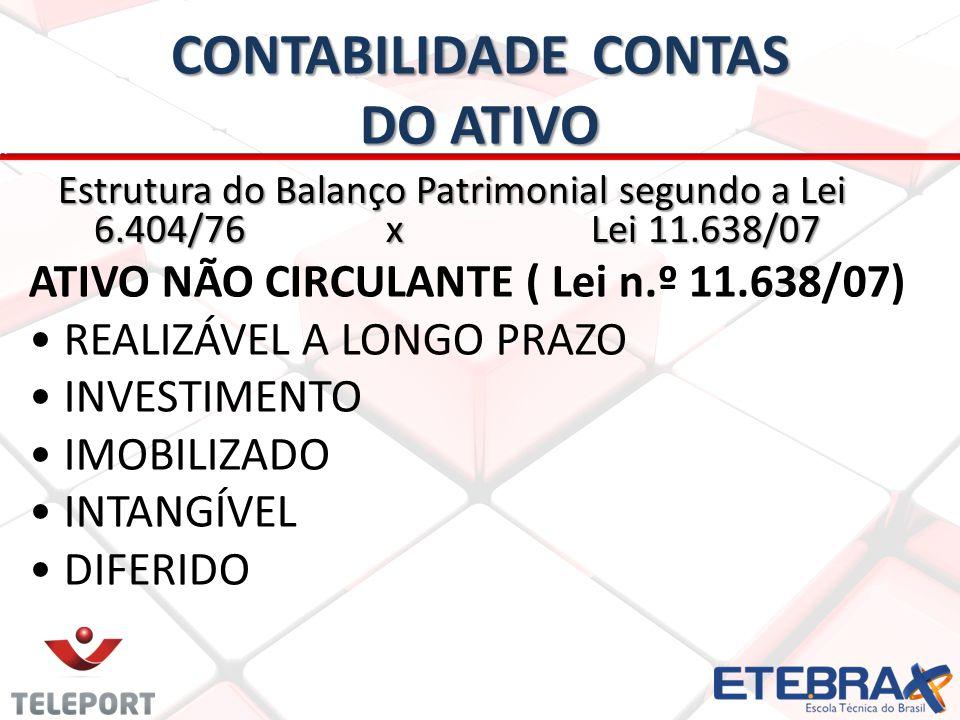 CONTABILIDADE CONTAS DO ATIVO Estrutura do Balanço Patrimonial segundo a Lei 6.404/76 x Lei 11.638/07 ATIVO NÃO CIRCULANTE ( Lei n.º 11.638/07) REALIZ