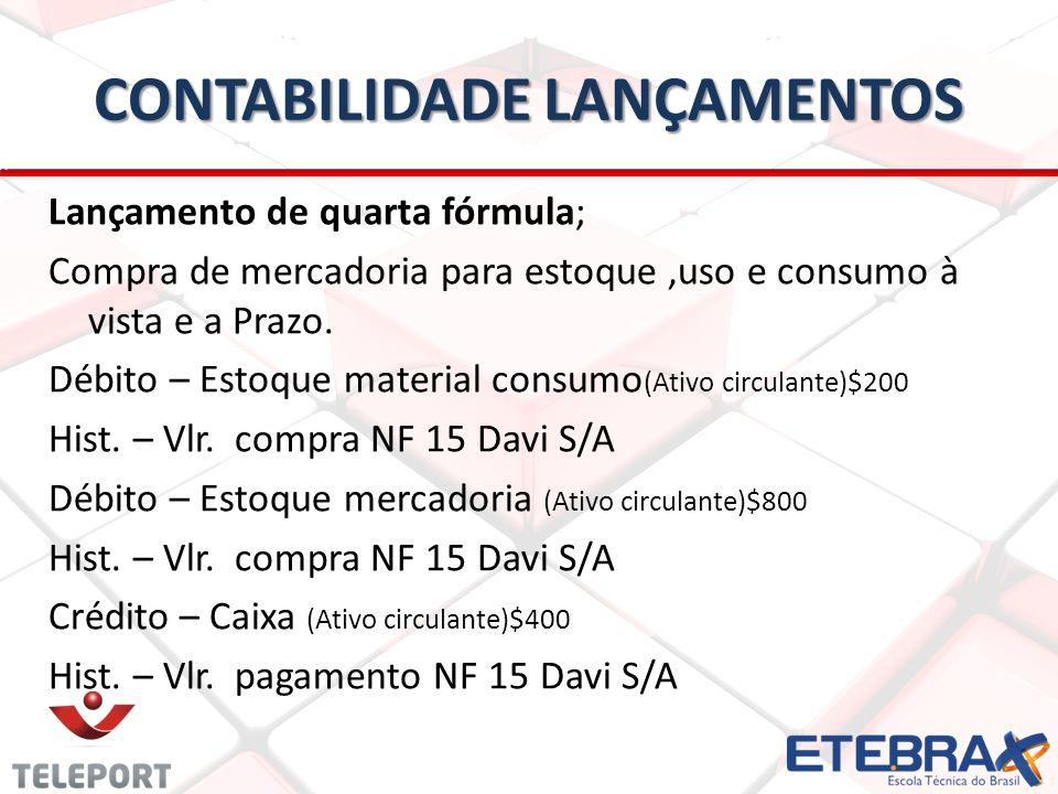 CONTABILIDADE LANÇAMENTOS Lançamento de quarta fórmula; Compra de mercadoria para estoque,uso e consumo à vista e a Prazo. Débito – Estoque material c
