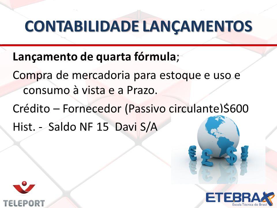CONTABILIDADE LANÇAMENTOS Lançamento de quarta fórmula; Compra de mercadoria para estoque e uso e consumo à vista e a Prazo. Crédito – Fornecedor (Pas