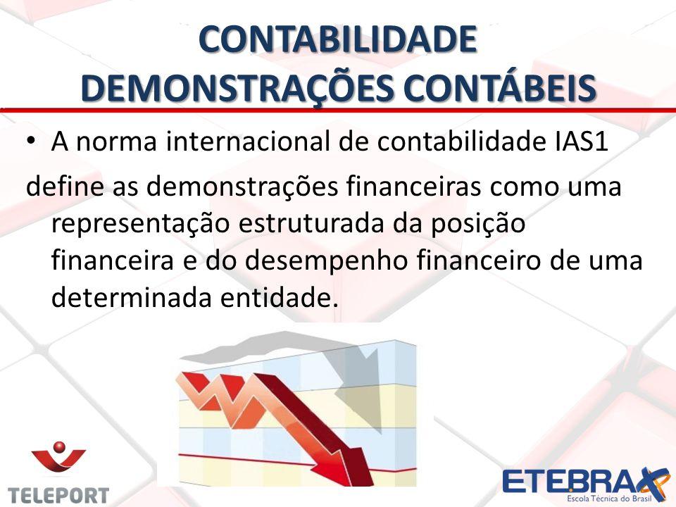 CONTABILIDADE DEMONSTRAÇÕES CONTÁBEIS A norma internacional de contabilidade IAS1 define as demonstrações financeiras como uma representação estrutura