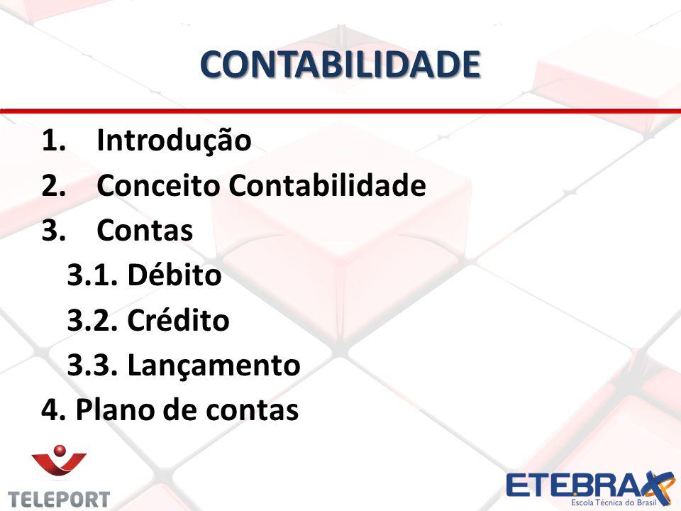 CONTABILIDADE 1. 1.Introdução 2. 2.Conceito Contabilidade 3. 3.Contas 3.1. Débito 3.2. Crédito 3.3. Lançamento 4. Plano de contas