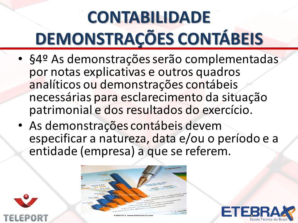 CONTABILIDADE DEMONSTRAÇÕES CONTÁBEIS §4º As demonstrações serão complementadas por notas explicativas e outros quadros analíticos ou demonstrações co