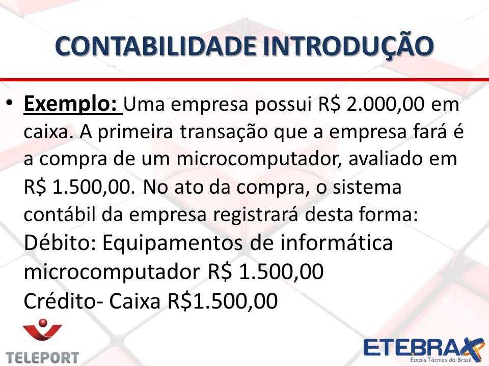 CONTABILIDADE INTRODUÇÃO Exemplo: Uma empresa possui R$ 2.000,00 em caixa. A primeira transação que a empresa fará é a compra de um microcomputador, a