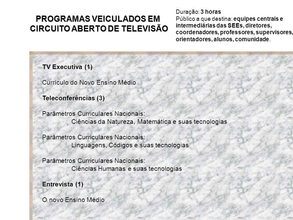 TV Executiva (1) Currículo do Novo Ensino Médio Teleconferências (3) Parâmetros Curriculares Nacionais: Ciências da Natureza, Matemática e suas tecnologias Parâmetros Curriculares Nacionais: Linguagens, Códigos e suas tecnologias Parâmetros Curriculares Nacionais: Ciências Humanas e suas tecnologias Entrevista (1) O novo Ensino Médio PROGRAMAS VEICULADOS EM CIRCUITO ABERTO DE TELEVISÃO Duração: 3 horas Público a que destina: equipes centrais e intermediárias das SEEs, diretores, coordenadores, professores, supervisores, orientadores, alunos, comunidade.