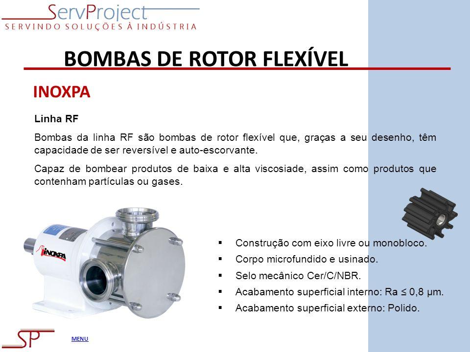 MENU BOMBAS DE ROTOR FLEXÍVEL INOXPA Linha RF Bombas da linha RF são bombas de rotor flexível que, graças a seu desenho, têm capacidade de ser reversí