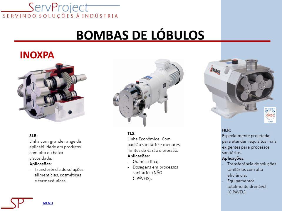 MENU BOMBAS DE LÓBULOS INOXPA SLR: Linha com grande range de aplicabilidade em produtos com alta ou baixa viscosidade. Aplicações: -Transferência de s