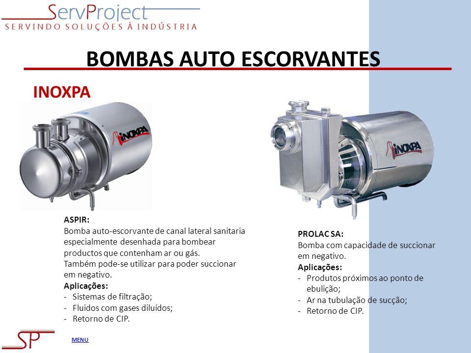 MENU BOMBAS AUTO ESCORVANTES ASPIR: Bomba auto-escorvante de canal lateral sanitaria especialmente desenhada para bombear productos que contenham ar o