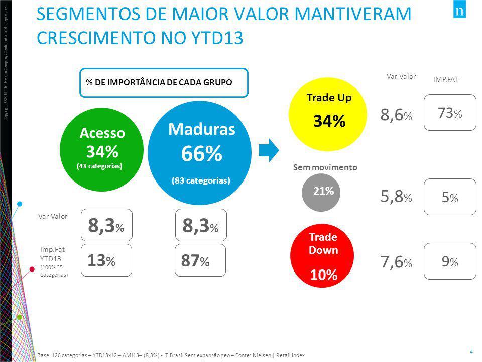 Copyright ©2013 The Nielsen Company. Confidential and proprietary. 4 Maduras 66% (83 categorias) Acesso 34% (43 categorias) Trade Up 34% Sem movimento