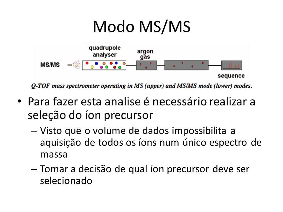 Modo MS/MS Para fazer esta analise é necessário realizar a seleção do íon precursor – Visto que o volume de dados impossibilita a aquisição de todos o