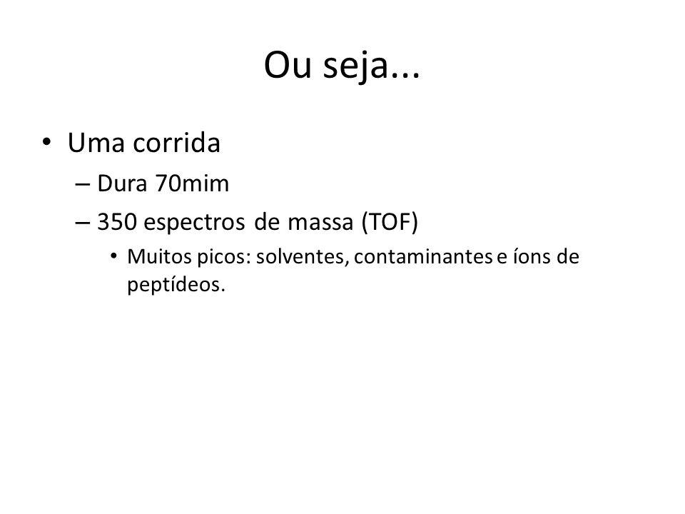Ou seja... Uma corrida – Dura 70mim – 350 espectros de massa (TOF) Muitos picos: solventes, contaminantes e íons de peptídeos.