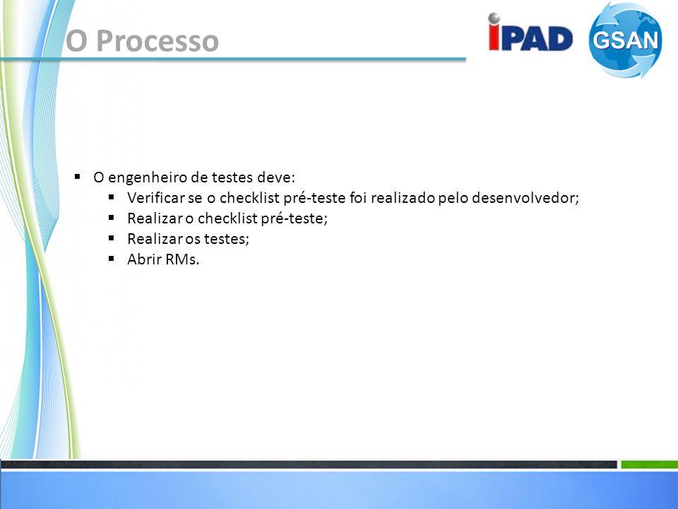 O Processo O engenheiro de testes deve: Verificar se o checklist pré-teste foi realizado pelo desenvolvedor; Realizar o checklist pré-teste; Realizar os testes; Abrir RMs.