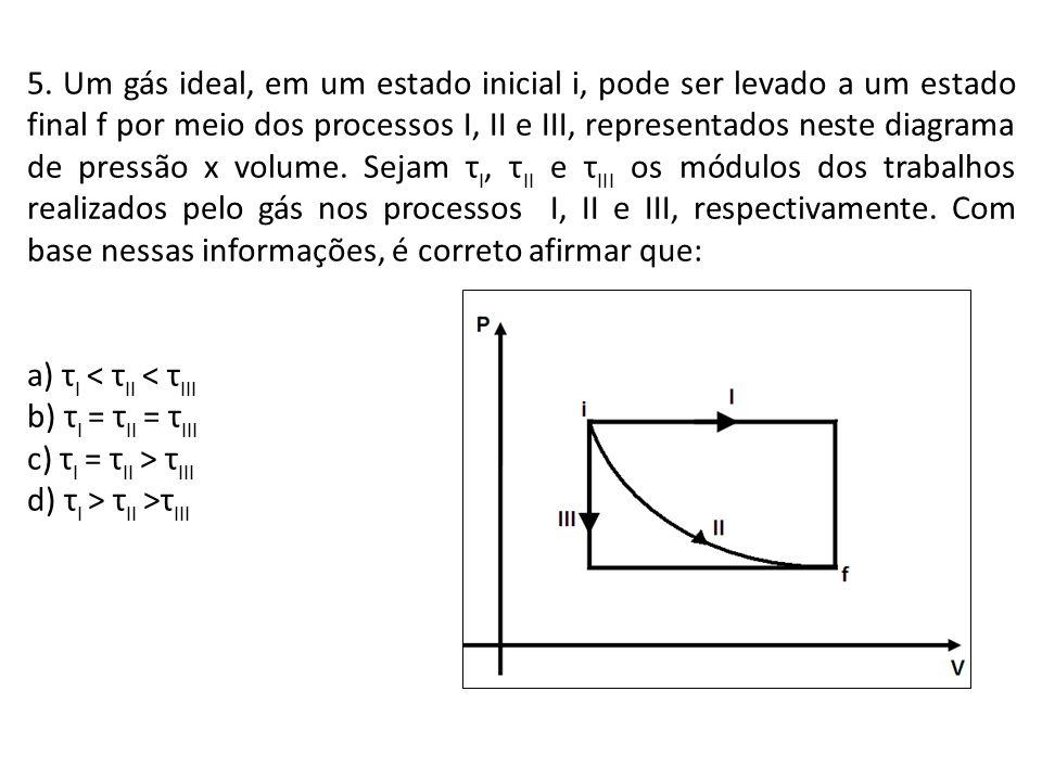 5. Um gás ideal, em um estado inicial i, pode ser levado a um estado final f por meio dos processos I, II e III, representados neste diagrama de press