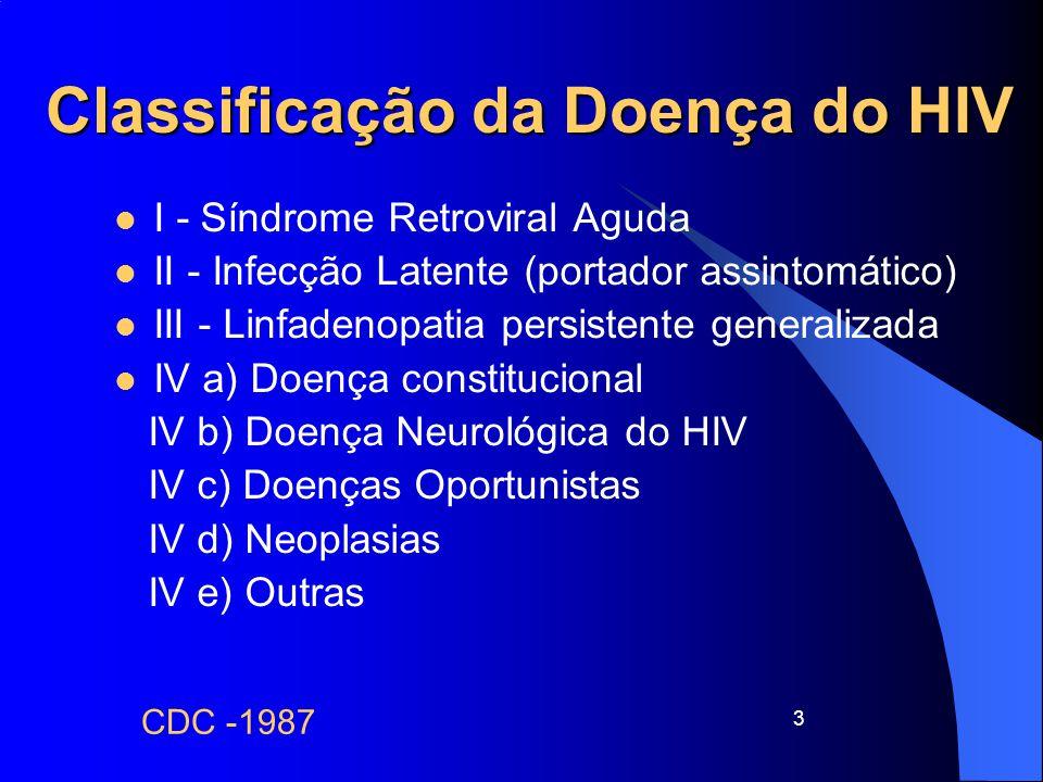 3 Classificação da Doença do HIV I - Síndrome Retroviral Aguda II - Infecção Latente (portador assintomático) III - Linfadenopatia persistente general