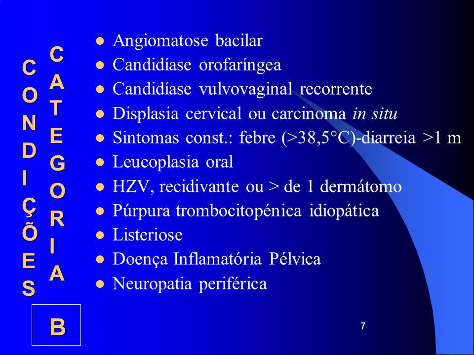 Candidíase do esófago, traqueia, brônquios, ou pulmão Carcinoma invasivo do colo do útero Coccidioidomicose, extrapulmonar Criptococose, extrapulmonar Criptosporidiose com diarreia >1mês CMV com exclusão da doença hepática, esplénica ou ganglionar HSV mucocutâneo >1 mês, ou bronquite, pneumonite ou esofagite Histoplasmose, extrapulmonar Encefalite pelo VIH (demência) Isosporíase com diarreia >1 mês 18