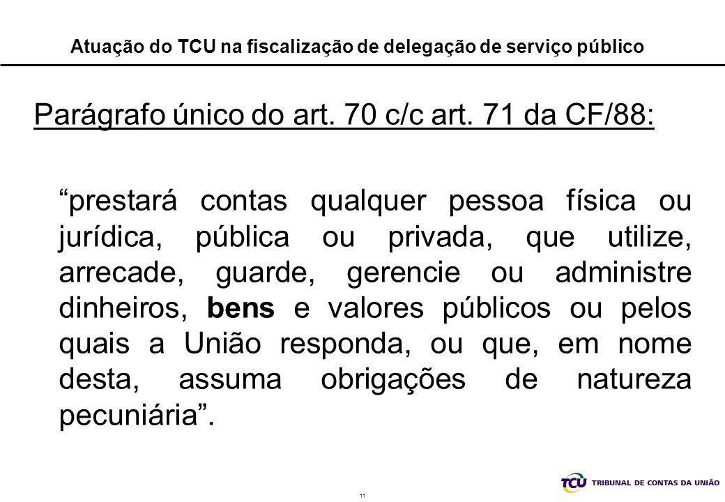 11 Atuação do TCU na fiscalização de delegação de serviço público Parágrafo único do art. 70 c/c art. 71 da CF/88: prestará contas qualquer pessoa fís