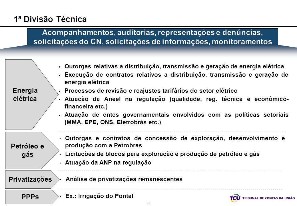 14 1ª Divisão Técnica Energia elétrica Privatizações Petróleo e gás Outorgas relativas a distribuição, transmissão e geração de energia elétrica Execu