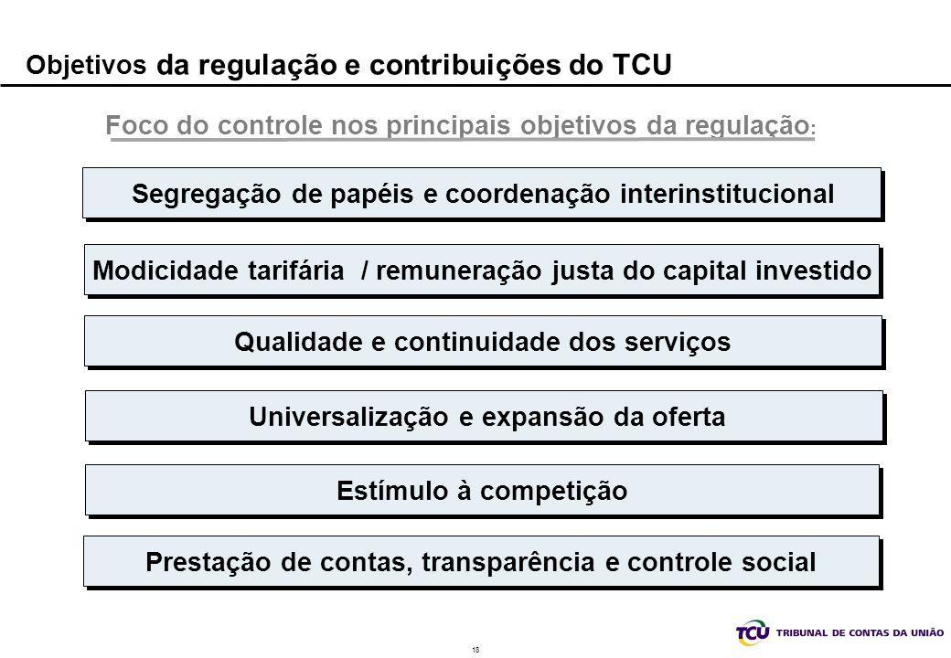 18 Objetivos da regulação e contribuições do TCU Foco do controle nos principais objetivos da regulação : Modicidade tarifária / remuneração justa do