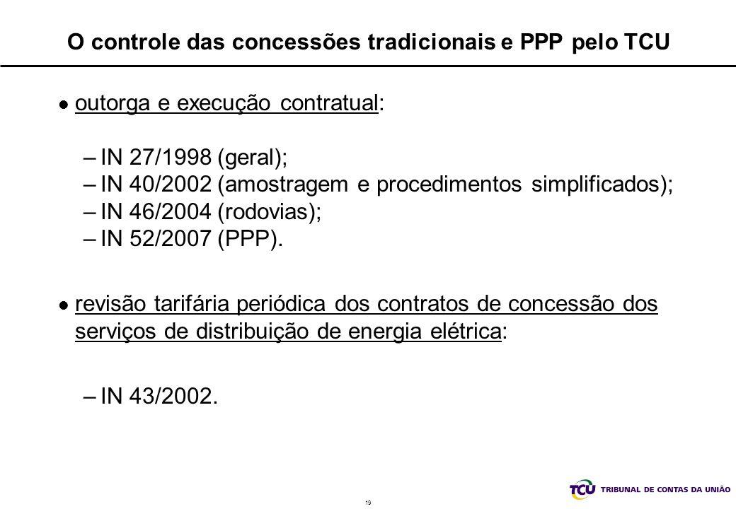 19 O controle das concessões tradicionais e PPP pelo TCU outorga e execução contratual: –IN 27/1998 (geral); –IN 40/2002 (amostragem e procedimentos s