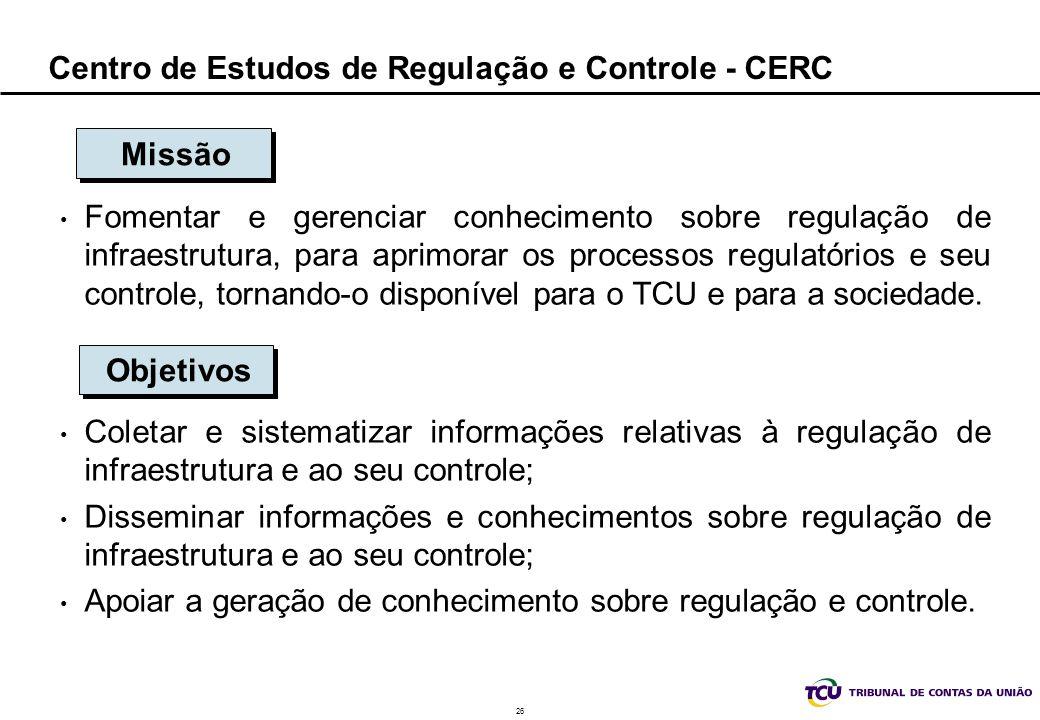 26 Centro de Estudos de Regulação e Controle - CERC Fomentar e gerenciar conhecimento sobre regulação de infraestrutura, para aprimorar os processos r