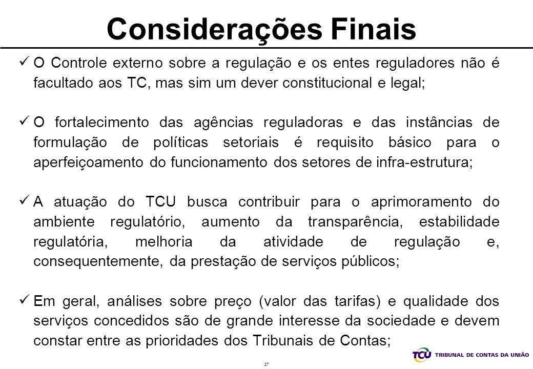 27 Considerações Finais O Controle externo sobre a regulação e os entes reguladores não é facultado aos TC, mas sim um dever constitucional e legal; O