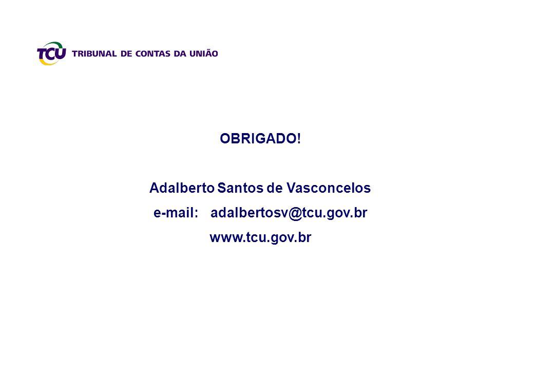 OBRIGADO! Adalberto Santos de Vasconcelos e-mail: adalbertosv@tcu.gov.br www.tcu.gov.br