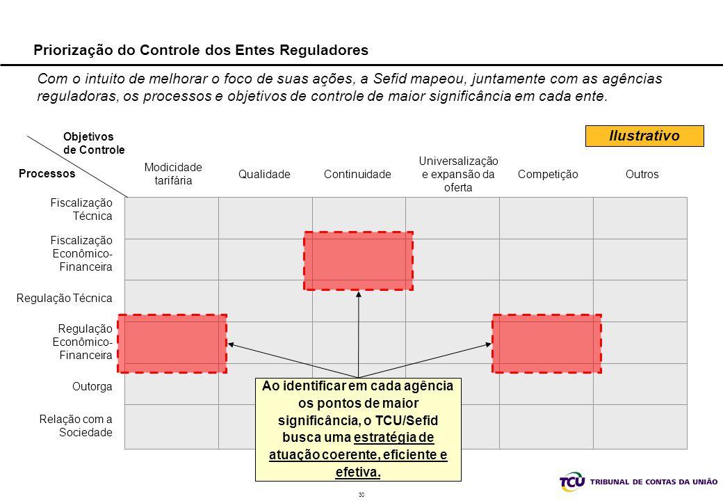 30 Priorização do Controle dos Entes Reguladores Com o intuito de melhorar o foco de suas ações, a Sefid mapeou, juntamente com as agências reguladora