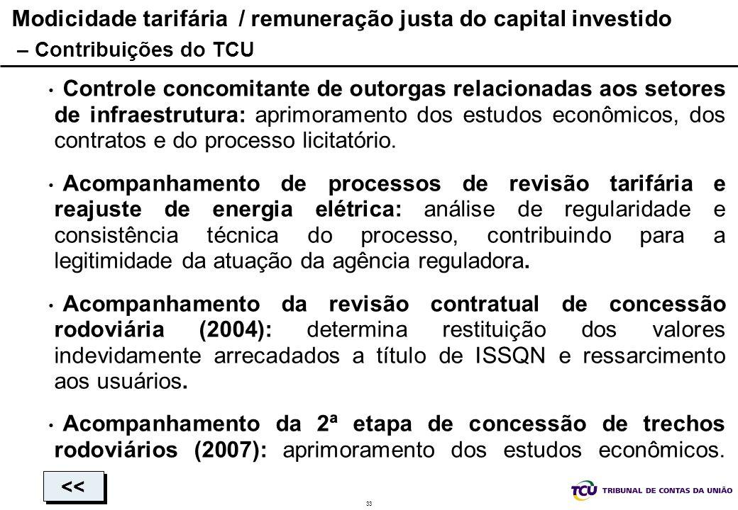 33 Modicidade tarifária / remuneração justa do capital investido – Contribuições do TCU Controle concomitante de outorgas relacionadas aos setores de