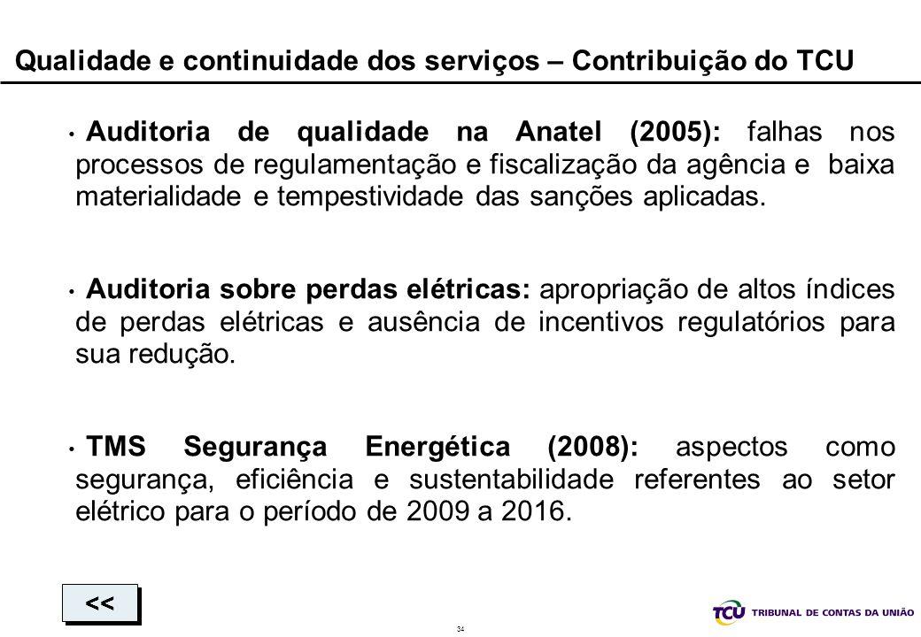34 Qualidade e continuidade dos serviços – Contribuição do TCU Auditoria de qualidade na Anatel (2005): falhas nos processos de regulamentação e fisca