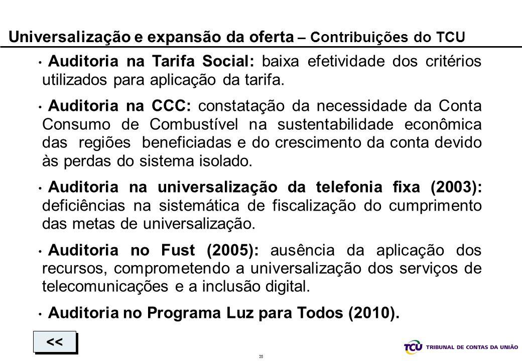 35 Universalização e expansão da oferta – Contribuições do TCU Auditoria na Tarifa Social: baixa efetividade dos critérios utilizados para aplicação d