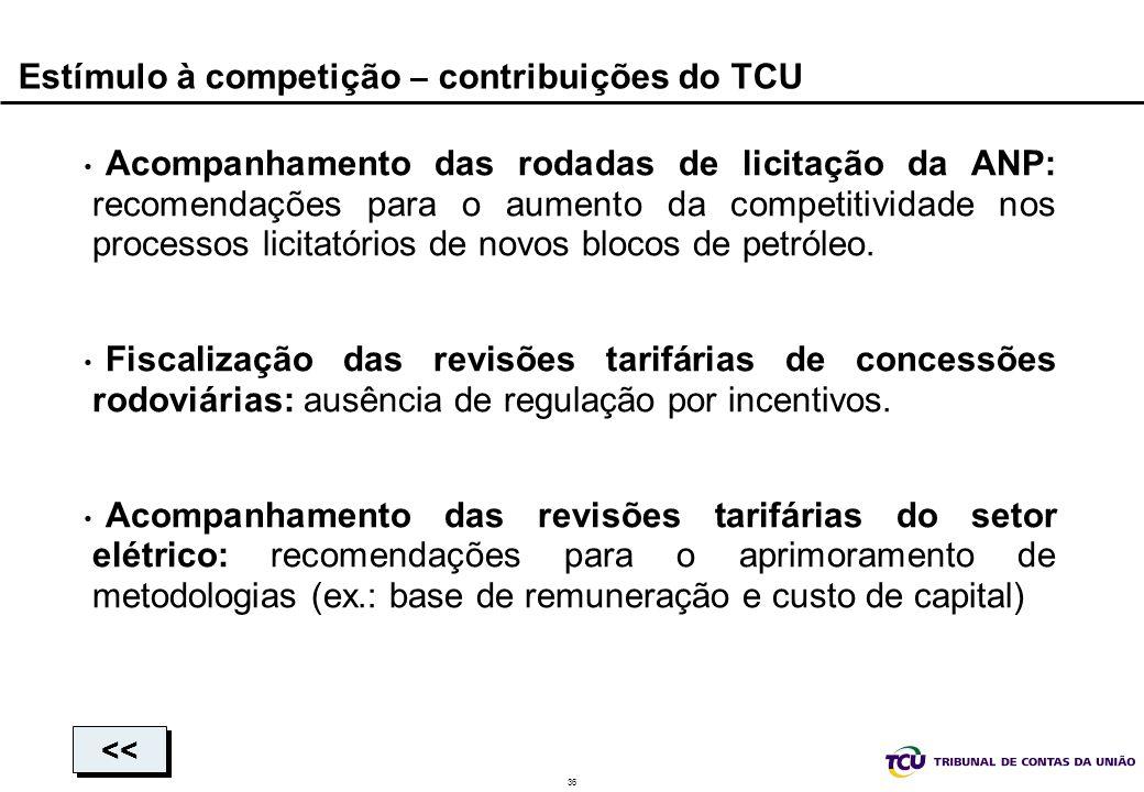36 Estímulo à competição – contribuições do TCU Acompanhamento das rodadas de licitação da ANP: recomendações para o aumento da competitividade nos pr