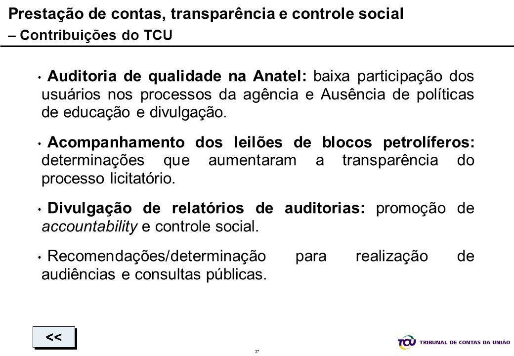 37 Prestação de contas, transparência e controle social – Contribuições do TCU Auditoria de qualidade na Anatel: baixa participação dos usuários nos p
