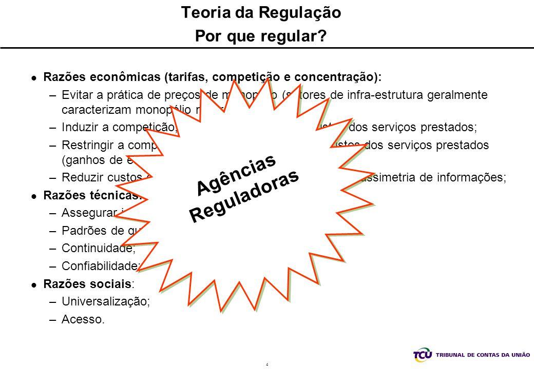 4 Teoria da Regulação Por que regular? Razões econômicas (tarifas, competição e concentração): –Evitar a prática de preços de monopólio (setores de in